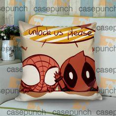 Sr4-spiderman Hearts Deadpool In Valentine Cushion Pillow Case