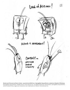 Storyboard Drawing Tutorial: Line of Action Character Design Tips, Character Design References, Spongebob Drawings, Cartoon Drawings, Cartoon Head, Animation Reference, Drawing Reference, Animation Mentor, Character Drawing