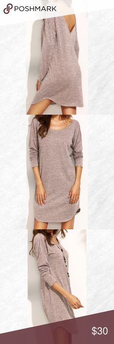 """ Last 1!  Dark Pink Deep V Back Dress Look comfy chic in this dark pink marled knit  dress. This lightweight dress features a deep v in back and a curved hem. Shift dress fit. Pair with black leggings and boots.  97% Polyester  3%spandex.    Bust measurements: S-18"""",  M-18 1/2"""",  L-19"""".   Length from shoulder to hem: 33"""" for all.  *Price Firm* Dresses Long Sleeve"""