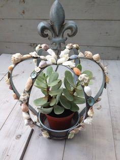 Items similar to Seashell Crown Fleur de lis Design/ Seashell Planter/Seashell Candleholder on Etsy Seashell Crown, Starfish, Poker, Metal Crown, Arts And Crafts, Diy Crafts, Small Plants, Quatrefoil, The Crown