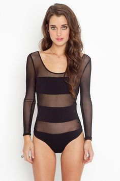 868f6f3d95 Stripe Mesh Bodysuit in Clothes at Nasty Gal