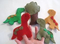 Set of Dinosaur Finger puppets by ModernSimpleBaby on Etsy
