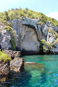 Maori carvings, Lake Taupo, New Zealand