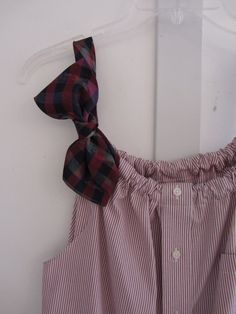 Repurposed Boyfriend Tank Top Blouse Using A Button Down Men's Shirt and a Tie.