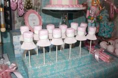 Pink marshmallow pops at a Nutcracker ballet birthday party! See more party planning ideas at CatchMyParty.com!