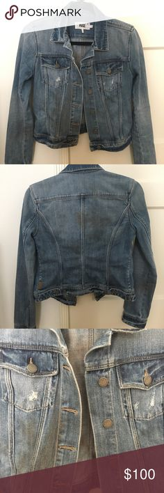 Paige medium wash lightly destructed denim jacket Features a vintage look with light destruction on the chest pockets. 100% cotton making it super soft (unlike typical stiff denim jackets). PAIGE Jackets & Coats Jean Jackets