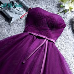 Aliexpress.com : Buy 2016 Lovely Bridesmaid Dresses Strapless Soft Tulle Short Bridesmaid Gowns Purple/Light Gray/Champagne Wedding Party Dresses from Reliable gown pageant suppliers on Life&Peace Dress Store