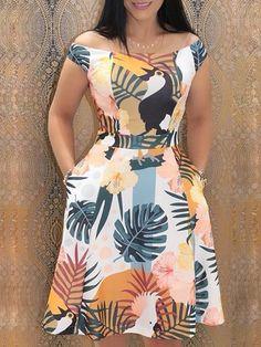 ivrose / Mixed Print Off Shoulder Pocket Casual Dresses African Fashion Dresses, African Dress, Trend Fashion, Womens Fashion, Fashion Design, Style Fashion, Fashion Brands, Fashion 2018, Fashion Styles