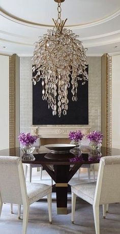 Dining Room Round Table Chandelier Modern Luxury Interiordesign Decorating