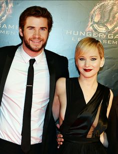 Liam and Jennifer at the Paris premiere of Catching Fire