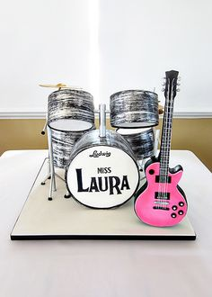 Who says a bridal shower cake has to be boring? Band cake with a vivid pink splash of color Gibson Les Paul guitar (also cake). Drum Cake, Guitar Cake, Unique Cakes, Creative Cakes, Cupcakes, Cupcake Cookies, Gorgeous Cakes, Amazing Cakes, Music Cakes