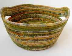 Scrappy Coiled Rope Basket Gold and Green Upcycled Bowl