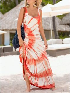 Orange and White Tie Dye Maxi Dress - Dresses Length : Ankle-Length - Neckline : O-Neck - Pattern Type : Tie Dye Print - Material : Polyester - Style : Casual - Silhouette : Fit And Flare - Sleeve Len Backless Maxi Dresses, Maxi Dress With Sleeves, Tank Dress, Bodycon Dress, Tie Dye Maxi, Tie Dye Dress, Tye Dye, Robes Orange, Fashion Clothes