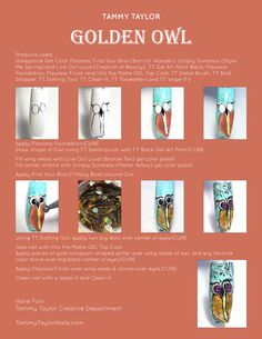 """♥ Tammy Taylor """"Golden Owl"""" Nail Design Step by Step"""
