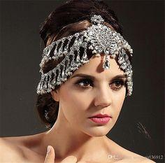 Vintage Wedding Bridal Accessories Silver Tassels Crystal Rhineston Crown Tiara Headband Hairband Head Jewelry Frontlet Wholesale Headpiece