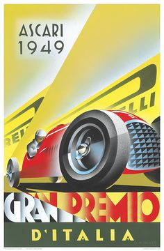 Vintage Italian Posters ~ #illustrator #Italian #posters ~ 1949 Ascari / Ferrari Legends of Road and Track