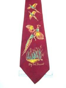 Vintage 1930s 40s Pilgrim DarkRed Ring Neck Pheasant Swing Necktie Tie HST05   eBay