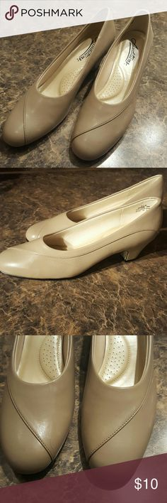 Shoes Tan new slip on heels Auditions Shoes Heels