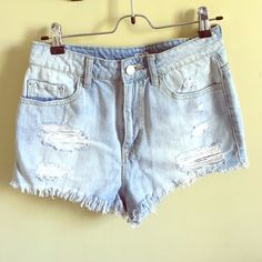 Jean shorts. Waist 28. High waisted. Barely worn. Ripped for style. Urban outfitters. BDG Shorts Jean Shorts