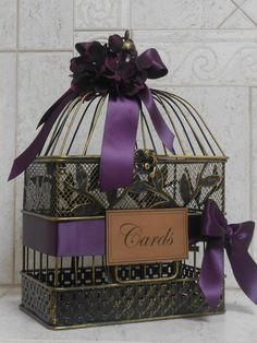Small Birdcage Wedding Card Holder / Card Box / by TheLaceMoon