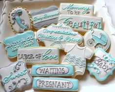 1 DOZEN - Baby Shower Congratulations on your pregnancy pregnant decorated cookies