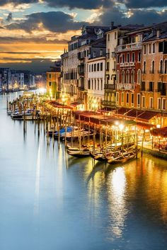 The Venice Grand Canal by night - Italy