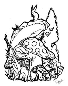 this was the other scenic tattoo design I did along with the Flower Scene one. Scenic Tattoo, Mushroom Tattoos, Mushroom Drawing, Psychadelic Art, Outline Designs, Tattoo Outline, Colouring Pages, Coloring, Simple Designs