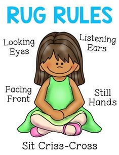 Rug Rules Poster This EARLY GRADES PRESCHOOL poster will remind students how to sit on the rug correctly. Can be enlarged easily by selecting ledger size in your printer settings and using paper. Preschool Classroom Rules, Preschool Graduation, Classroom Behavior, Classroom Posters, Future Classroom, In Kindergarten, Preschool Activities, Classroom Management, Group Activities