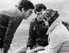William Friedkin, Jason Miller and Ellen Burstyn on-set ofThe Exorcist (1973)