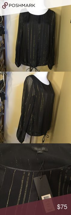 Rachel Zoe Black Silk Blouse with Gold Stripes New with tags! Silk blouse with sheer sleeves and drawstring hem. 15% off bundles! Let me know if you have any questions 😊 Rachel Zoe Tops Blouses