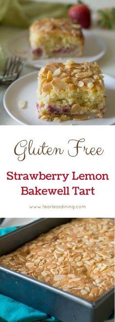 Do you love dessert? This gluten free fresh strawberry lemon bakewell tart is a delicious British cake-like tart. How to make a bakewell tart. Gluten free tart recipes. via @fearlessdining