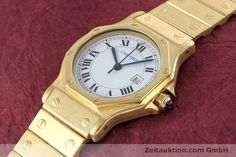 Cartier Santos 18k Gold Automatik Kal. ETA 2671 | 160199 | Zeitauktion | juwelier-haeger.de
