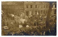 Évacuation des immeubles lillois bombardés, 1914. Evacuation of bombed buildings, Lille, 1914.