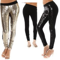 Two tone sequin leggings. Solid black back. Comes in your pick of Black or Gold.  Fits true to size. $65.00