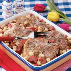 Rhubarb Pork Chop Bake Recipe -True, it's a little unusual to combine rhubarb with meat in an entree, but my family loves this recipe! It was created by my mother in an effort to use abundant rhubarb from our farm garden. I'm sure you'll enjoy it, too! -Edie deSpain Logan, Utah