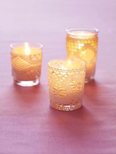I think lace adds so nicely to the vintage feel that I want our wedding to have. Love these DIY lace votives.