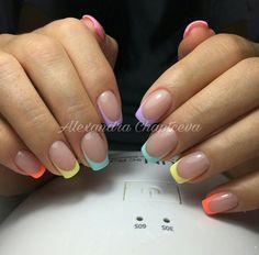 american french nails Style in 2020 Summer Acrylic Nails, Best Acrylic Nails, Summer French Nails, White Summer Nails, Summer Nails Almond, Fluorescent Nails, French Manicure Nails, Fire Nails, Minimalist Nails