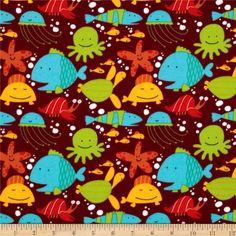 Beach Flannel Tossed Sea Creatures Bay Maroon - Discount Designer Fabric - Fabric.com $9.98/yd