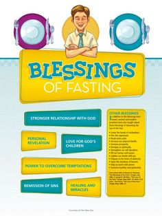 Latter-day Saints fast (go without food or drink for two meals and donate the money to feed others) on the first Sunday of each month. Learn about some of the blessings that come from fasting.: