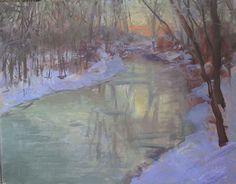 Chaska Creek in February by Richard Kochenash Oil ~ 14 x 18