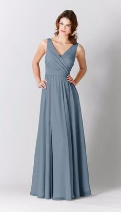 Style your girls in this classic long chiffon bridesmaid dress that  features a flattering V-neckline. Available in colors abc40e39dc8b