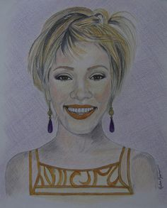 Whitney Houston, Original Colored Pencils Drawing on Paper