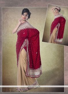 Add a young burst of shade in your wardrobe with this maroon faux chiffon, shimmer georgette and velvet classic designer saree. This appealing attire is displaying some unbelievable embroidery done wi...