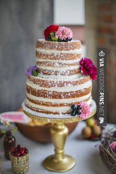 Neato - Wedding Cake Trends 2016 - Naked wedding cakes - Add a dusting of powdered sugar and adorn the cake with floral blooms. | CHECK OUT SOME SUPER COOL SHOTS OF TASTY Wedding Cake Trends 2016 AT WEDDINGPINS.NET | #weddingcaketrends2016 #weddingcakes #cake #weddings #weddingphotos #weddingpictures