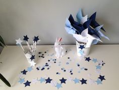 Kit décoration étoile bleu ciel, bleu marine et blanc, idéal pour décoration bapteme, anniversaire, mariage,