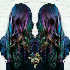 Top 40 Opal oil slick hair color 2018 – Reny styles - New Sites Oil Slick Hair Color, Cool Hair Color, Hair Colors, Peacock Hair Color, Galaxy Hair Color, Galaxy Colors, Hair Color 2018, Hair 2018, Slick Hairstyles