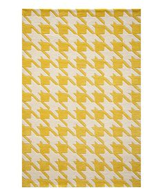 Yellow Houndstooth Wool Rug | zulily