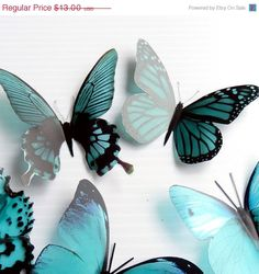 great for your craft project, diy, these butterflies are fade resistant and waterprooof not to mention absolutely beautiful! ON SALE 12 x 3D Butterflies in Teal Colour by clearcutcrafts2007