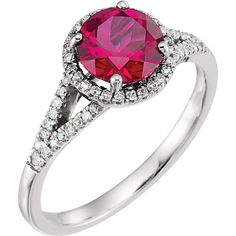 14kt White Gold Round Created Ruby & 1/5 CTW Diamond Halo Ring