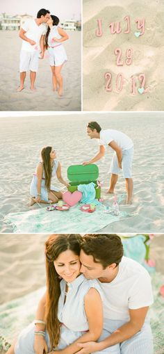 Beach Engagement Photo Session Ideas | Props | Prop | Photography | Pose Idea | Poses |